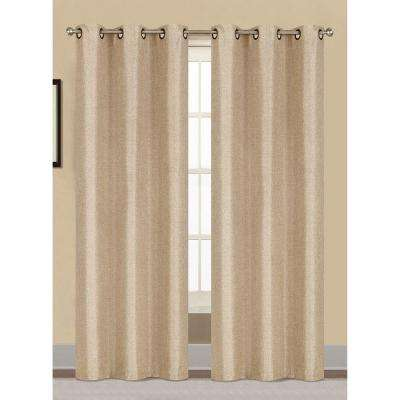 Semi-Opaque Willow Textured Woven 96 in. L Grommet Curtain Panel Pair, Ivory (Set of 2)