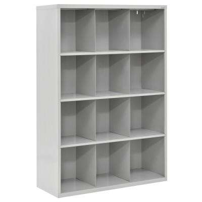 66 in. H x 46 in. W x 18 in. D Dove Gray 12-Cube Cubby Organizer
