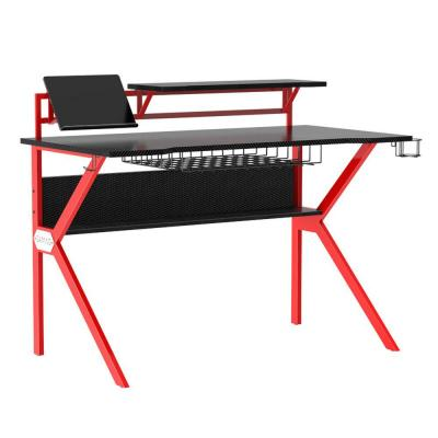 27 in. Rectangular Black/Red Computer Desk