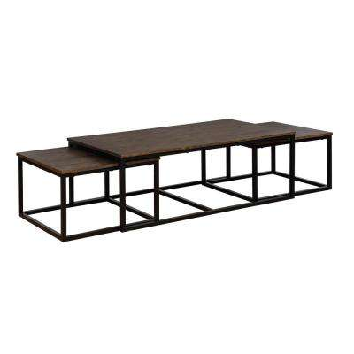 Arcadia Antiqued Mocha 54 in. Acacia Wood Coffee Table with Nesting Tables