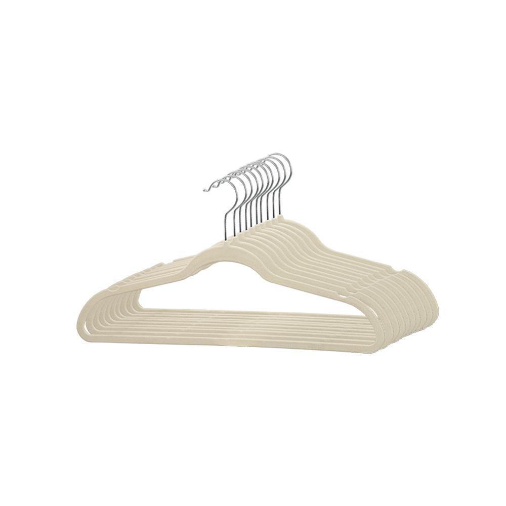 Sunbeam Ivory Flocked Suit Hanger (25-Pack)
