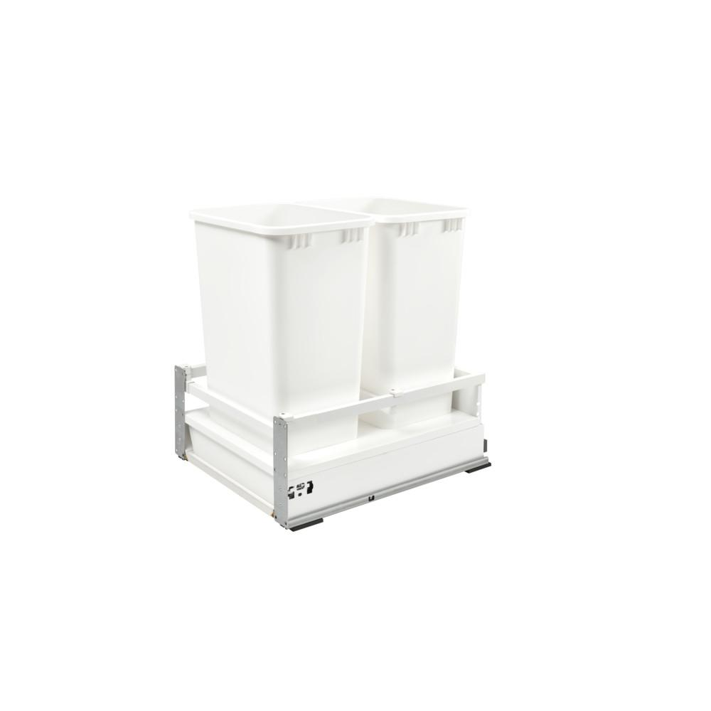 Rev-A-Shelf 23 in. H x 18.5 in. W x 22.41 in. D Double 50 Qt. White Pull-Out Wood Bottom Mount Waste Container for Opening
