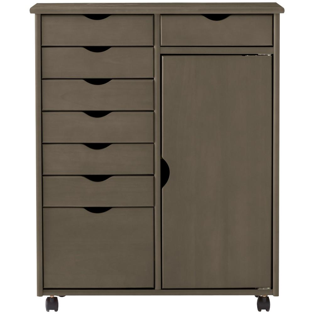 Stanton 8-Drawer Double Wide Storage Cart in Antique Grey
