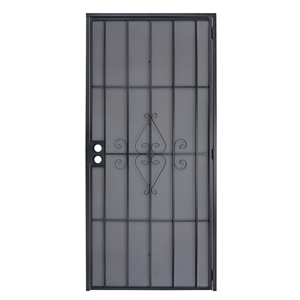 Grisham 36 In X 80 In 368 Series Bella Wrought Iron Black Security Door Recessed Mount 36847 The Home Depot