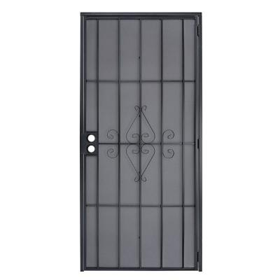 36 in. x 80 in. Champion Black Steel Surface Mount Outswing Security Door with Expanded Steel Screen Inlay