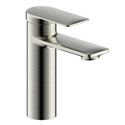 Pont Neuf Single Handle Single Hole Bathroom Faucet with Flat Lever Handle in Brushed Nickel
