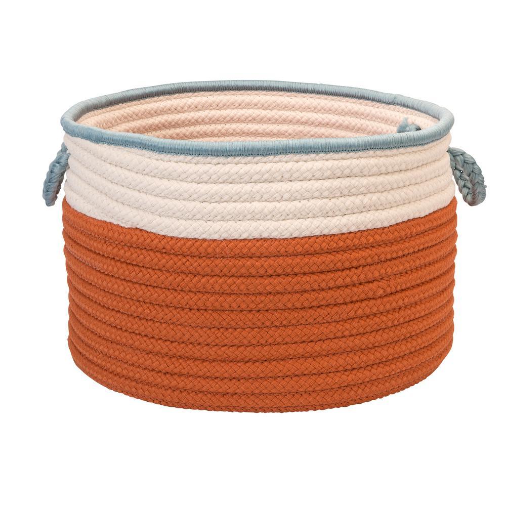 Indoor/Outdoor Orange/Light Blue 14 in. x 14 in. x 10 in. Round Polypropylene Storage Bin