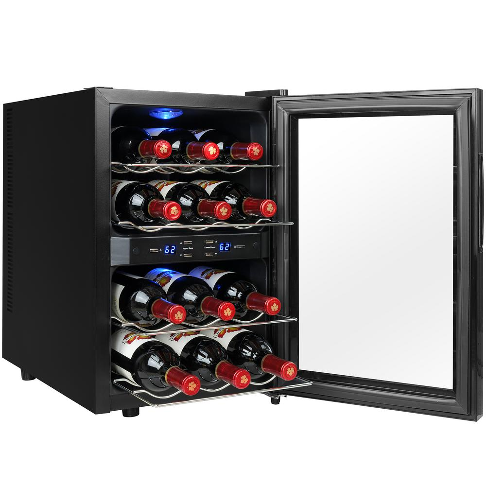 AKDY 12-Bottle Dual Zone Thermoelectric Wine Cooler in Black with Reversible Door Design