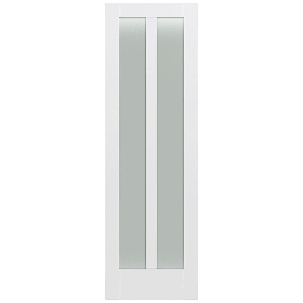 Jeld-Wen 32 in. x 96 in. Moda Primed PMT1024 Solid Core Wood Interior Door Slab w/Translucent Glass