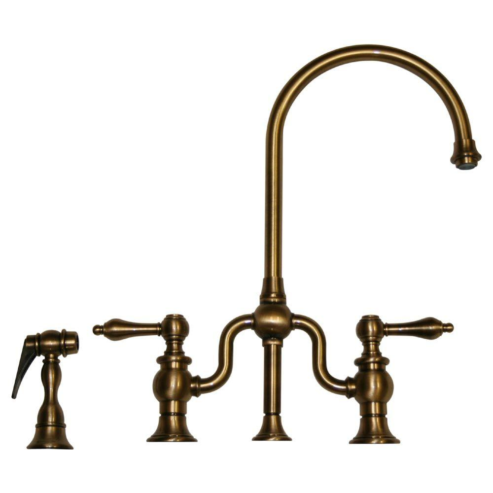 Whitehaus Collection Twisthaus 2-Handle Standard Kitchen Faucet with Side Sprayer in Antique Brass