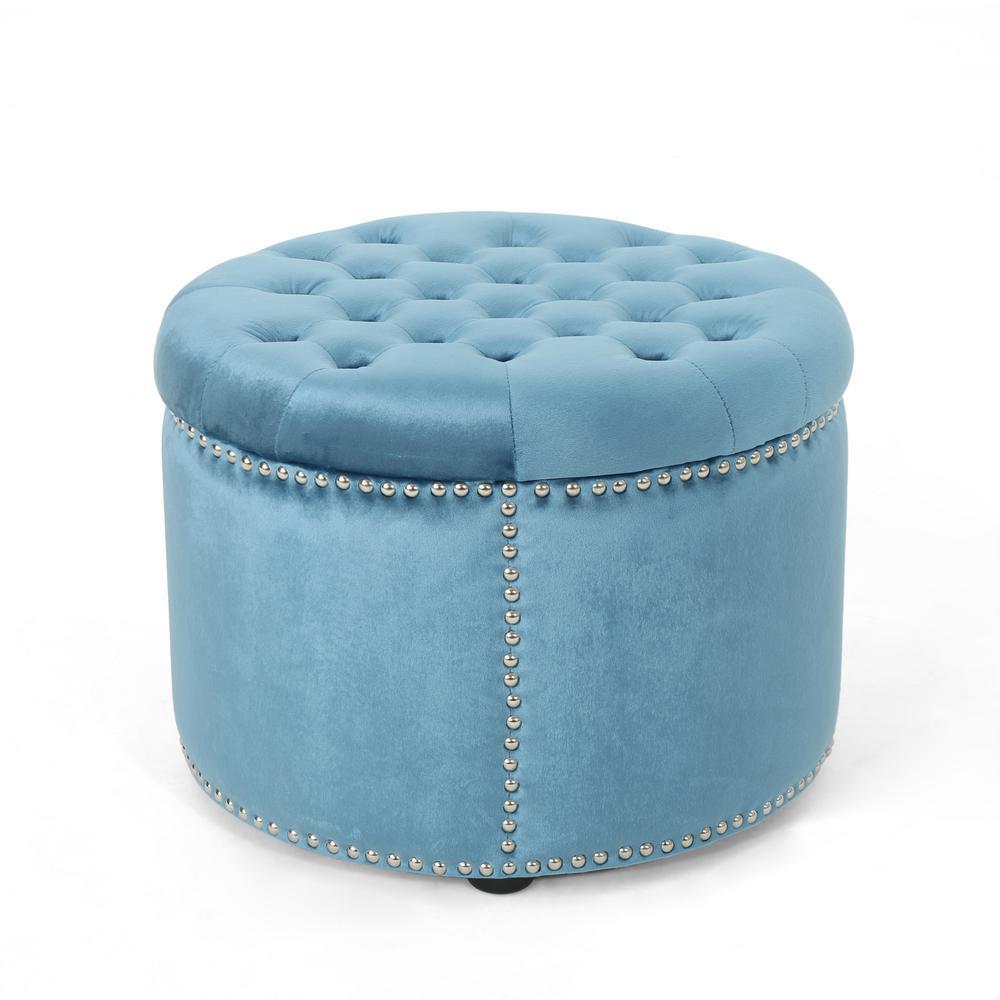 Le House Tiernan Glam Round Tufted Aqua Velvet Ottoman With Stud Accents