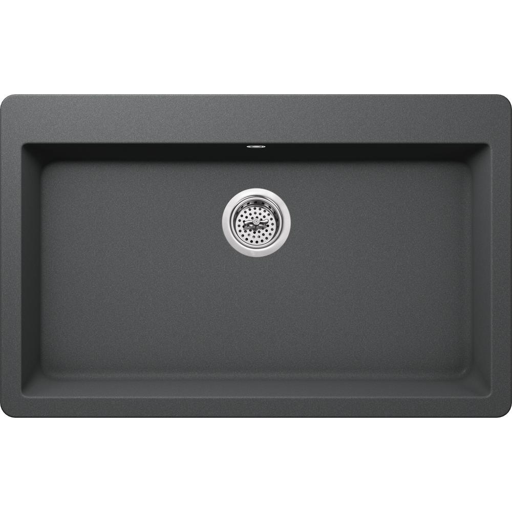 Drop-in Granite Composite 33 in. 3-Hole Single Bowl Kitchen Sink in