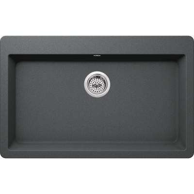 Drop-in Granite Composite 33 in. 3-Hole Single Bowl Kitchen Sink in Grey