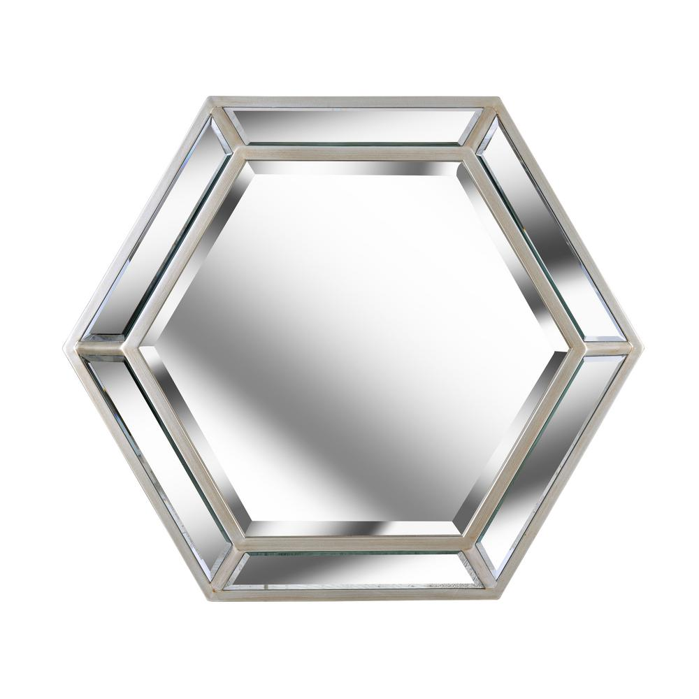 KENROYHOME Kenroy Home Pantera Silver Hexagon Decorative Wall Mirror