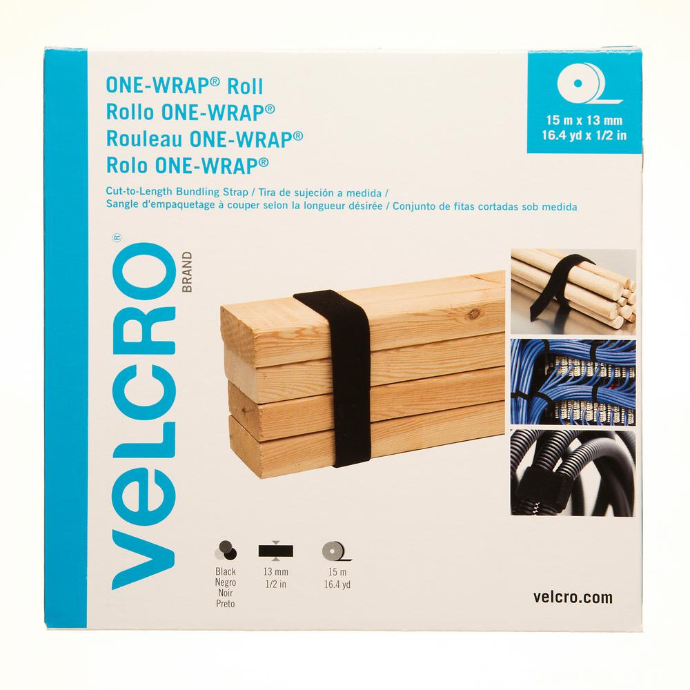 VELCRO Brand 16.4 yd. x 1/2 in. One-Wrap Strap in Black