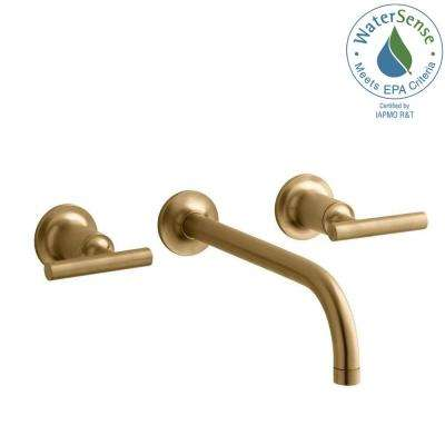 Purist 2-Handle Wall-Mount Bathroom Faucet Trim Kit in Vibrant Modern Brushed Gold