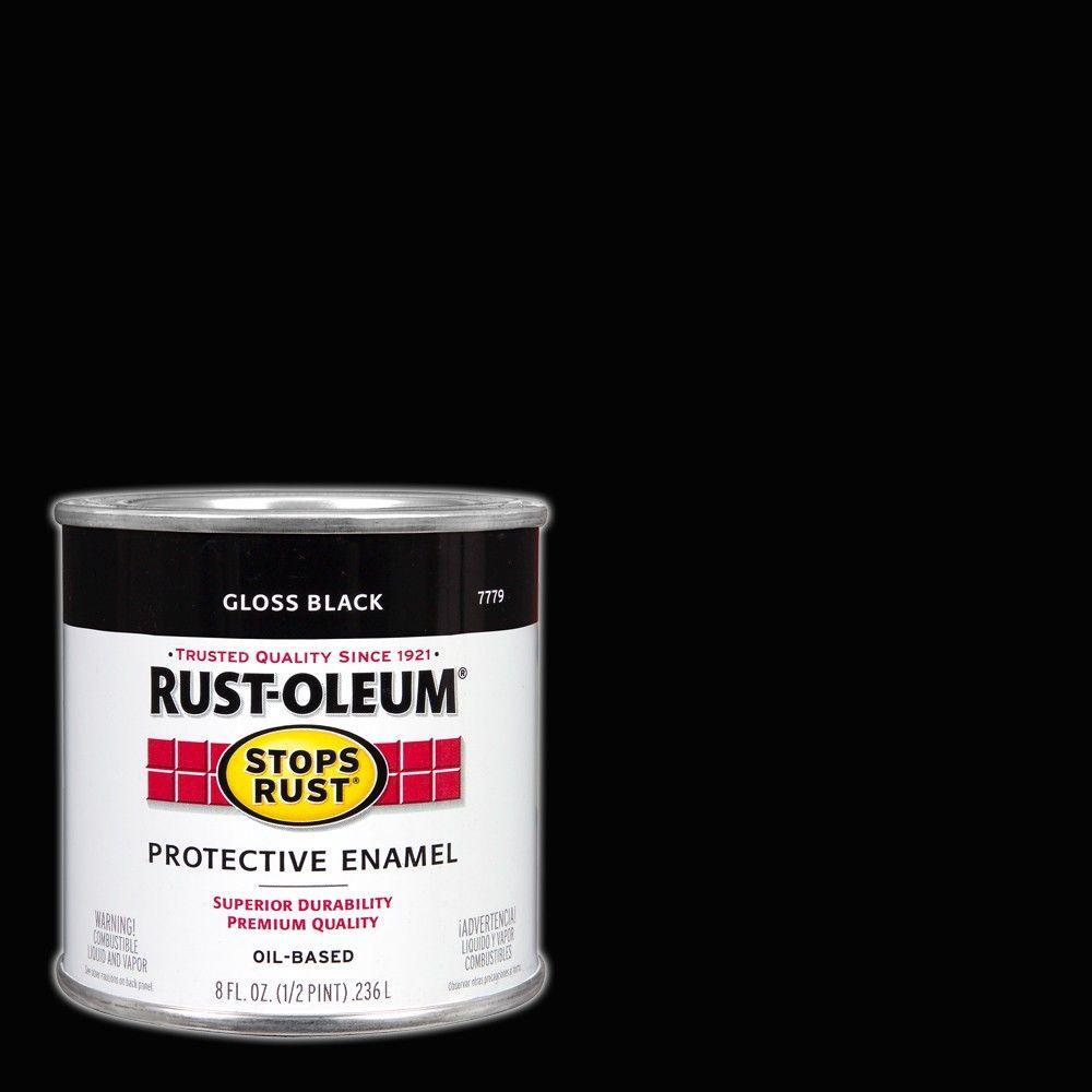 Rust-Oleum Stops Rust 8 oz. Protective Enamel Gloss Black Paint