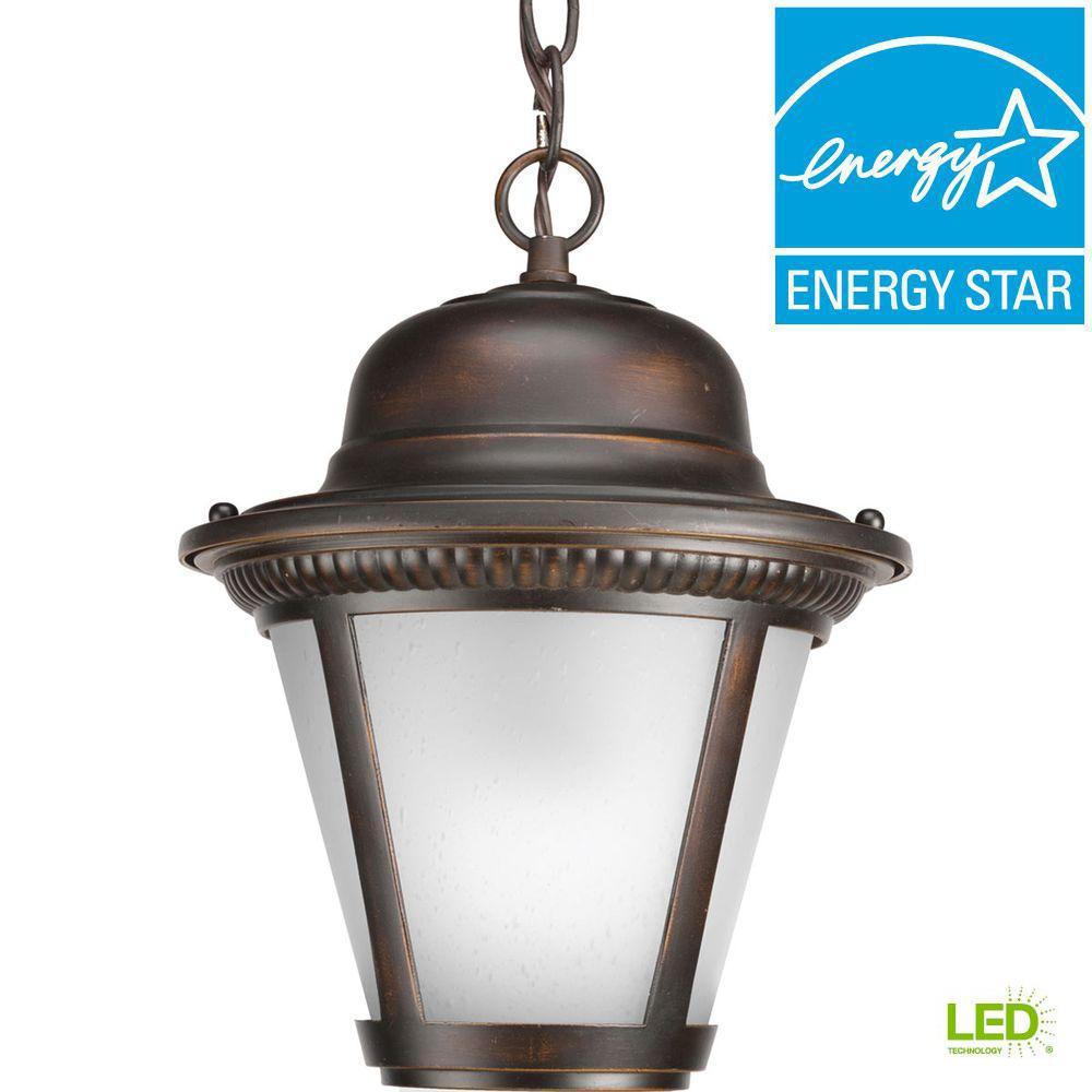Westport Collection 1-Light Outdoor Antique Bronze LED Hanging Lantern