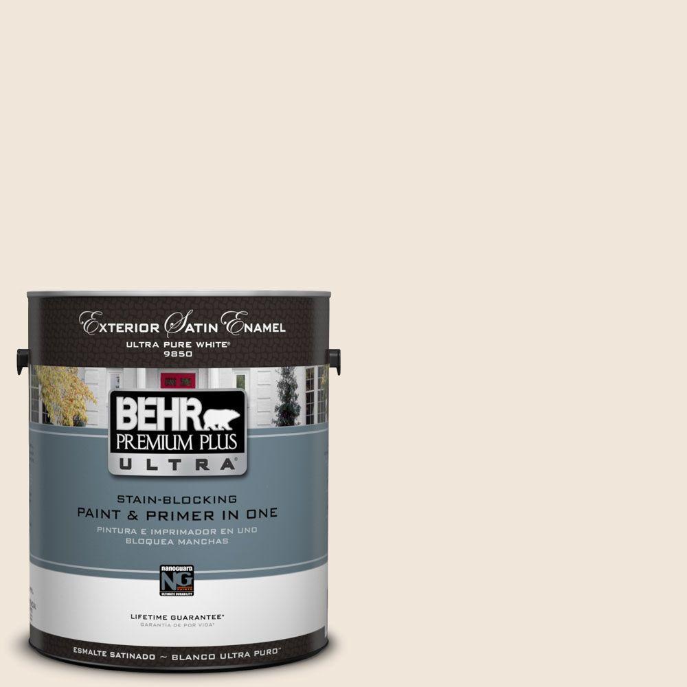 BEHR Premium Plus Ultra 1-Gal. #UL130-13 Ballet White Satin Enamel Exterior Paint