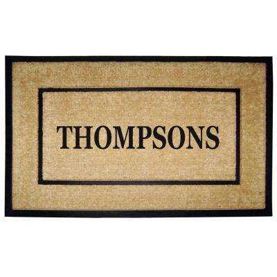 DirtBuster Single Picture Frame Black 30 in. x 48 in. Coir with Rubber Border Personalized Door Mat