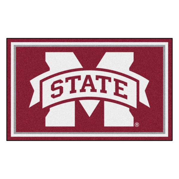 NCAA - Mississippi State University Red 6 ft. x 4 ft. Indoor Rectangle Area Rug