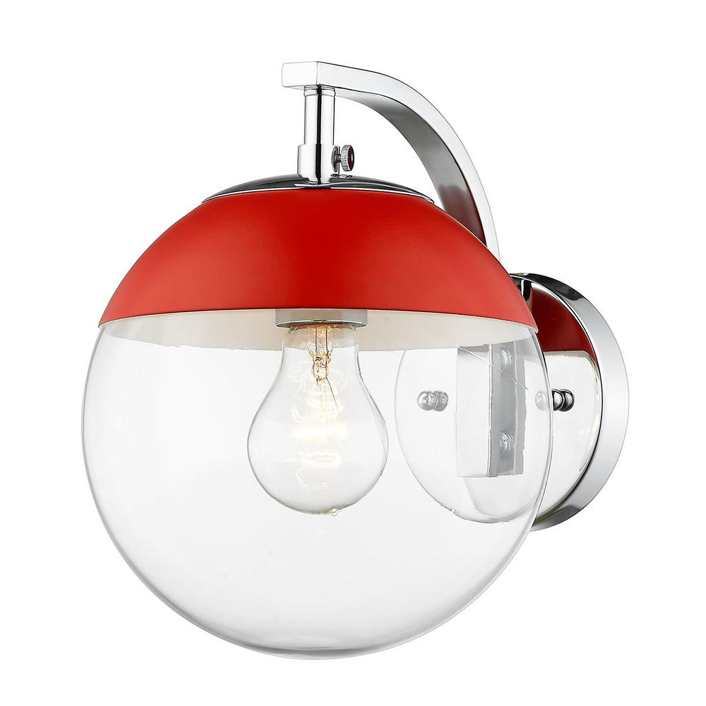 Dixon 1-Light Chrome with Clear Glass and Red Cap Sconce