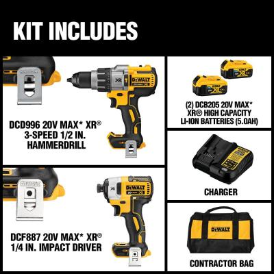 20-Volt MAX XR Lithium-Ion Cordless Brushless Hammerdrill/Impact Combo Kit (2-Tool) w/ (2) 5Ah Batteries, Case, Charger
