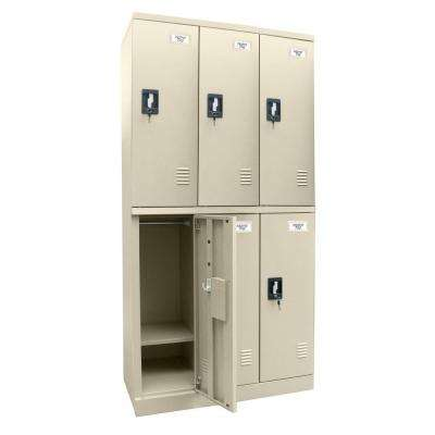72 in. H x 36 in. W x 18 in. D Quick Assembly Double Tier Locker in Putty