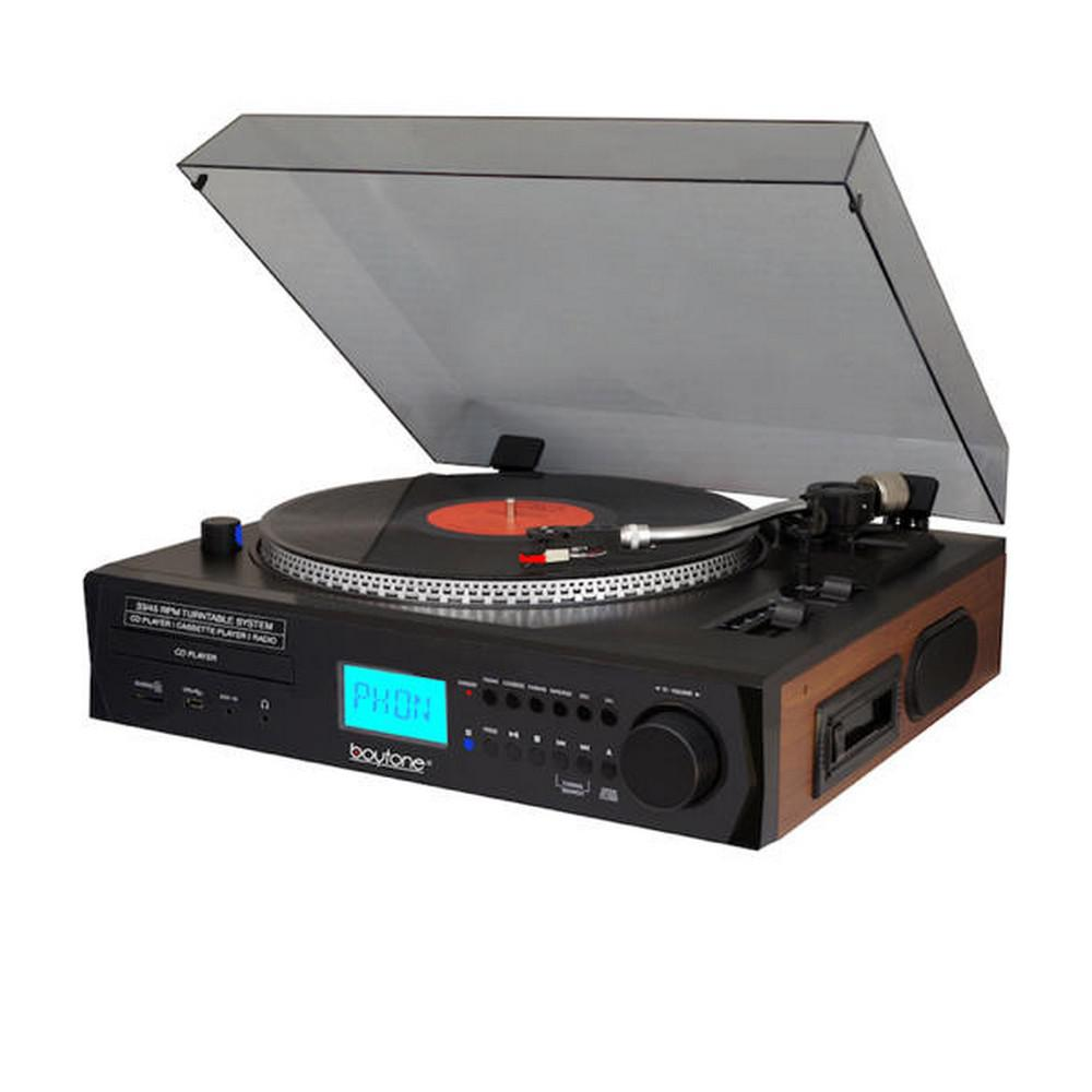 BT-11B Pro-Style Turntable/CD/AM-FM Stereo System Get a complete stereo system in a gorgeous unit. The automatic, full size turntable is augmented by a total package of modern media playing options. The 2 built-in speakers make this a true plug-and-play machine.