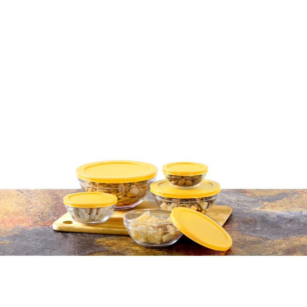 10-Piece Glass Food Storage Bowls with Yellow Lids