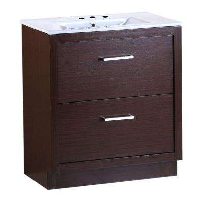 Covina 30 in. W x 18 in. D x 33.5 in. H Single Vanity in Wenge with Ceramic Vanity Top in White with White Basin