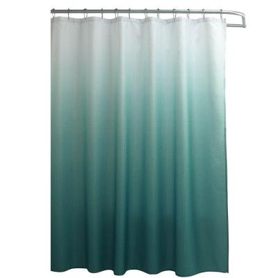 Ombre Waffle Weave 70 in. W x 72 in. L Shower Curtain with Metal Roller Rings in Marine Blue