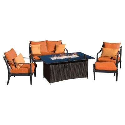 Astoria 5-Piece Love and Club Patio Fire Pit Seating Set with Tikka Orange Cushions