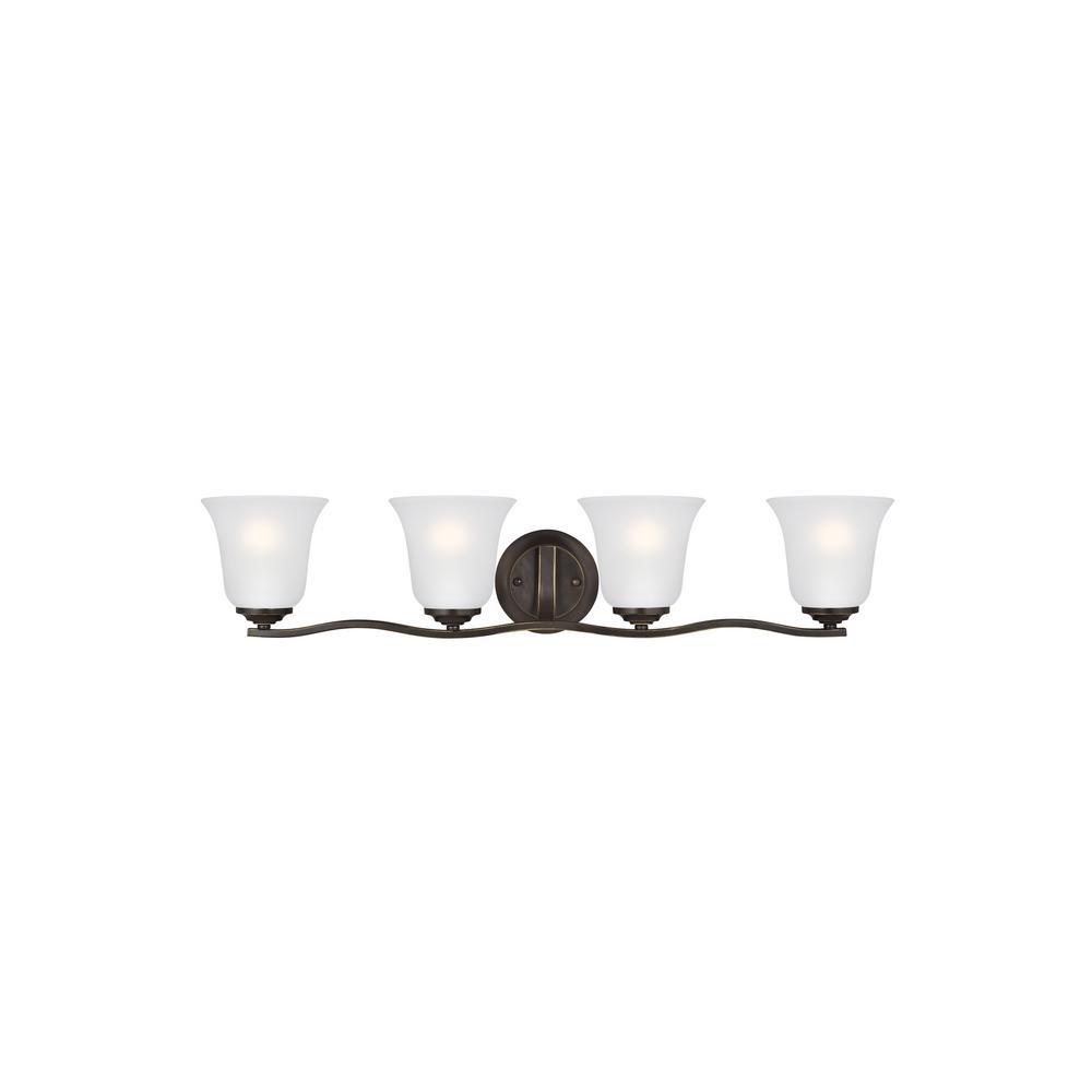 Sea Gull Lighting Emmons 4-Light Heirloom Bronze Bath Light with LED Bulbs