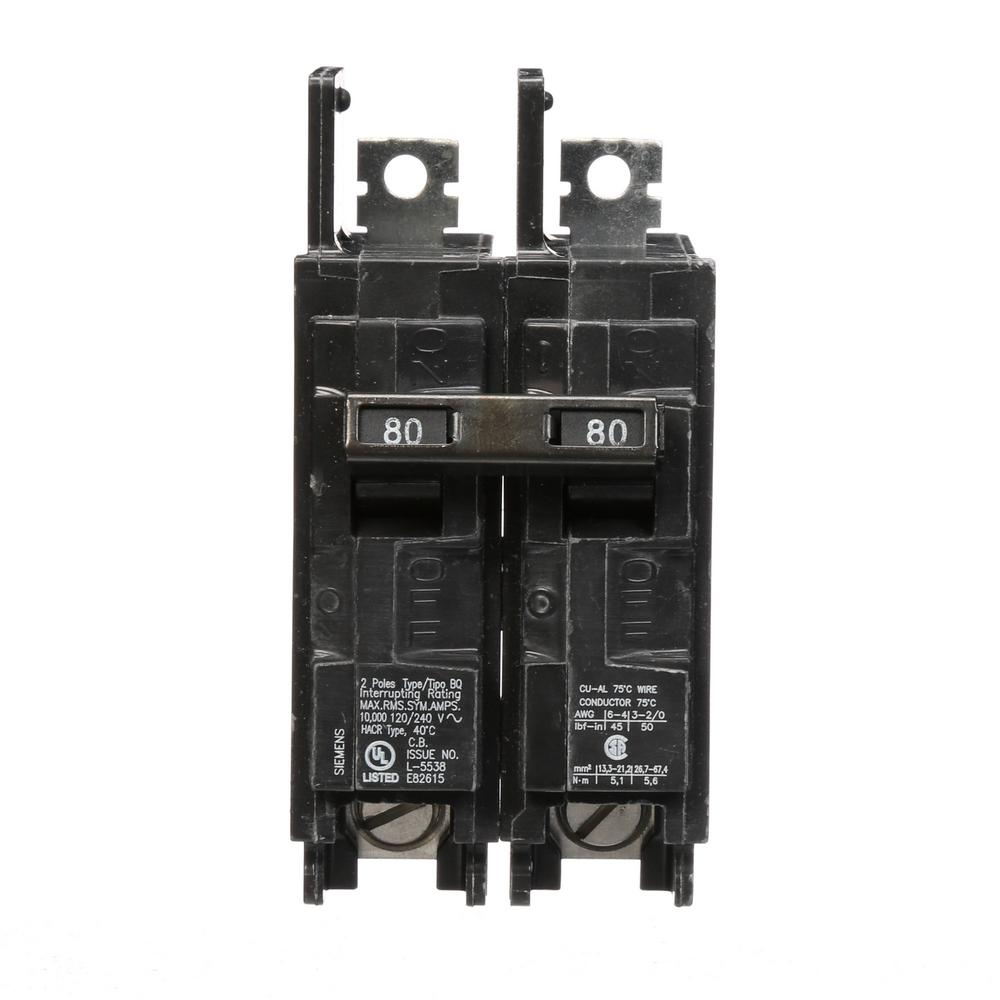 80 Amp 2-Pole Type BQ 10 kA Lug-In/Lug-Out Circuit Breaker