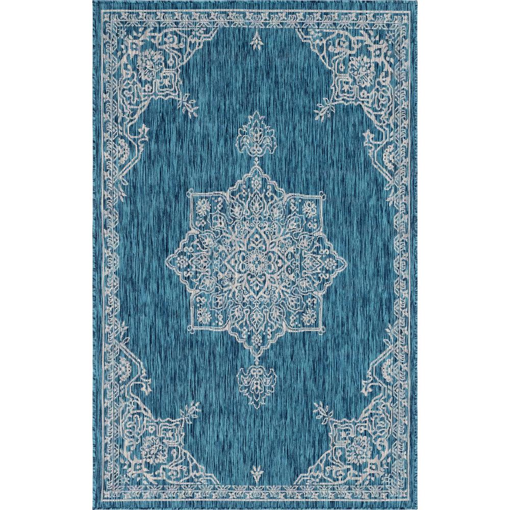 Unique Loom Teal Antique Outdoor 9 Ft. X 12 Ft. Area Rug