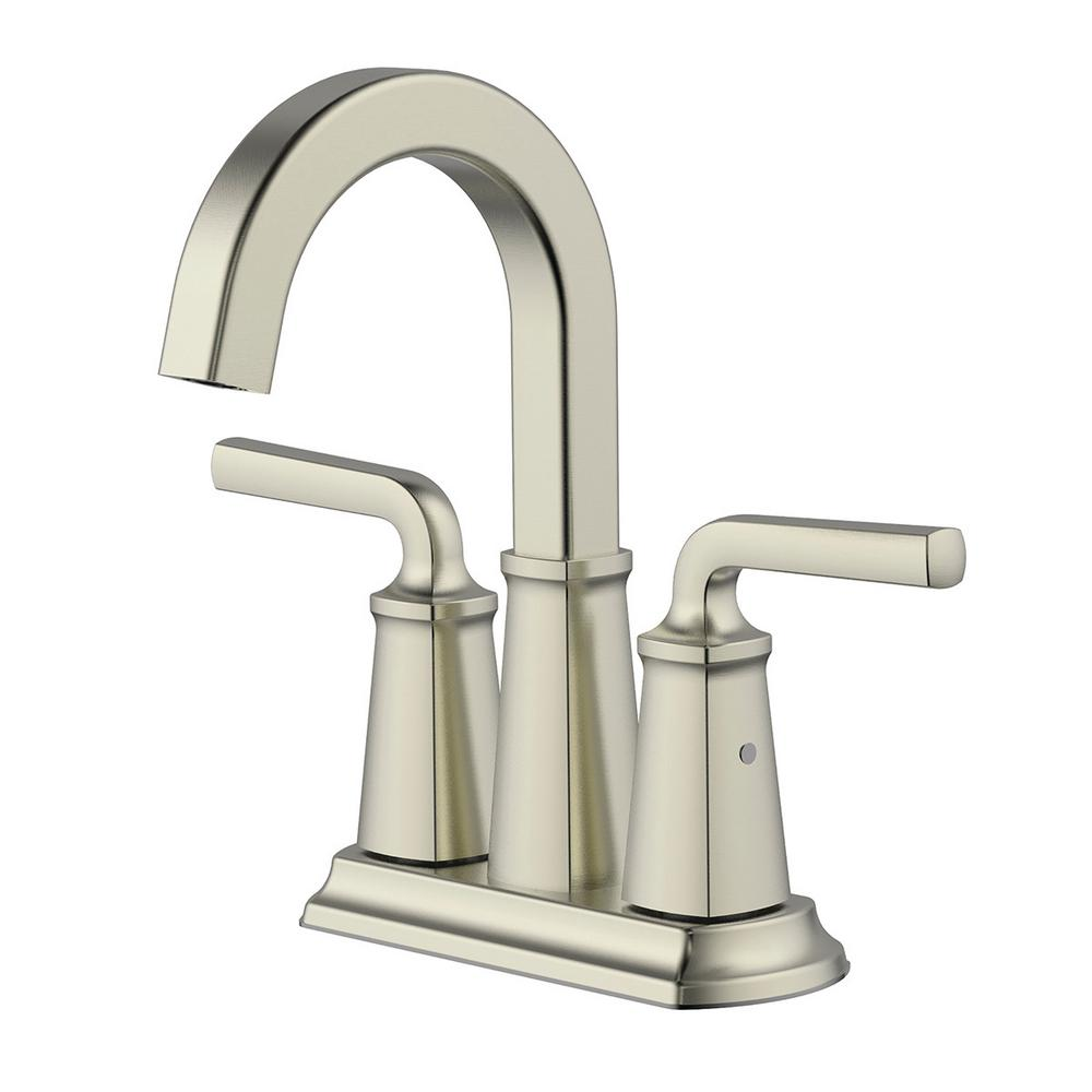 Chesapeake 4 in. Centerset 2-Handle Bathroom Faucet with Pop-Up Drain Assembly in Brushed Nickel