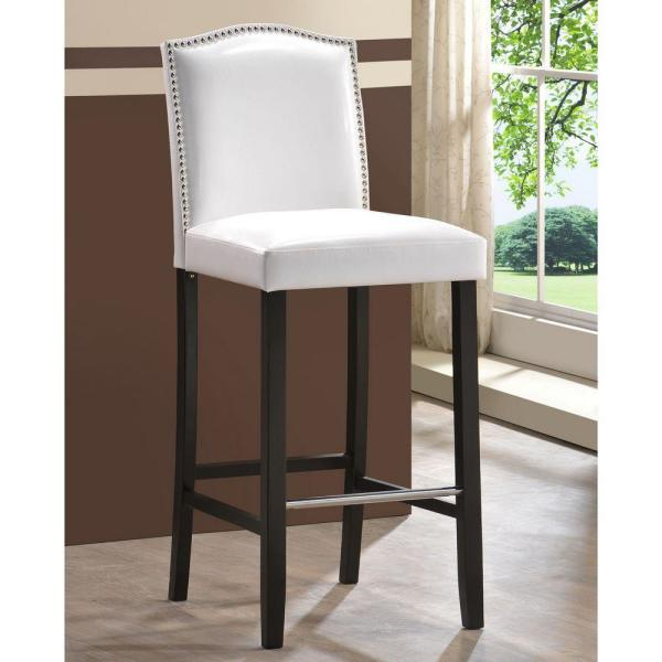 Baxton Studio Libra White Faux Leather Upholstered 2-Piece Bar Stool Set