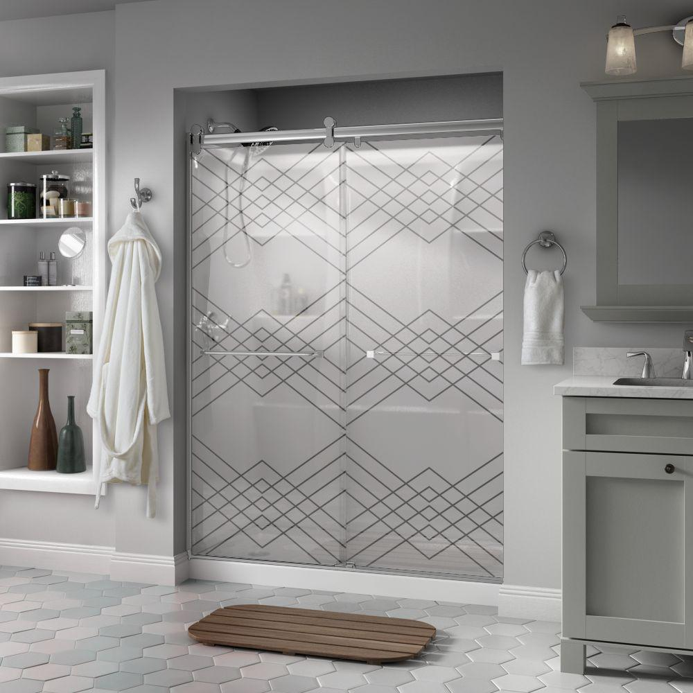 Frosted Shower Doors Showers The Home Depot