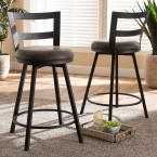 Baxton Studio Arjean 26 in. Gray and Black Pub Stool (Set of 2)