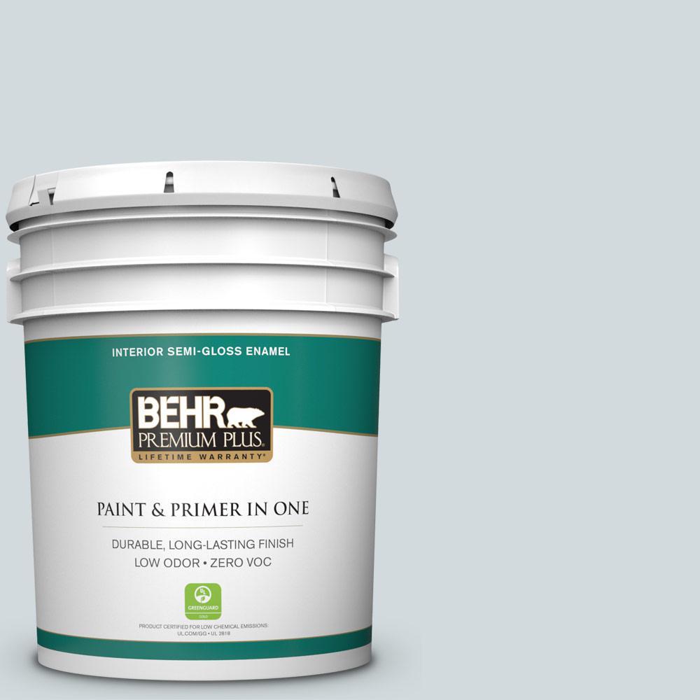 5 gal. #PPU12-13 Urban Mist Zero VOC Semi-Gloss Enamel Interior Paint