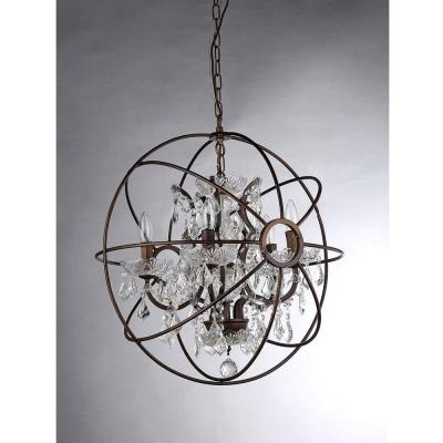 Planetshaker Spherical 6-Light Antique Bronze Chandelier with Shade