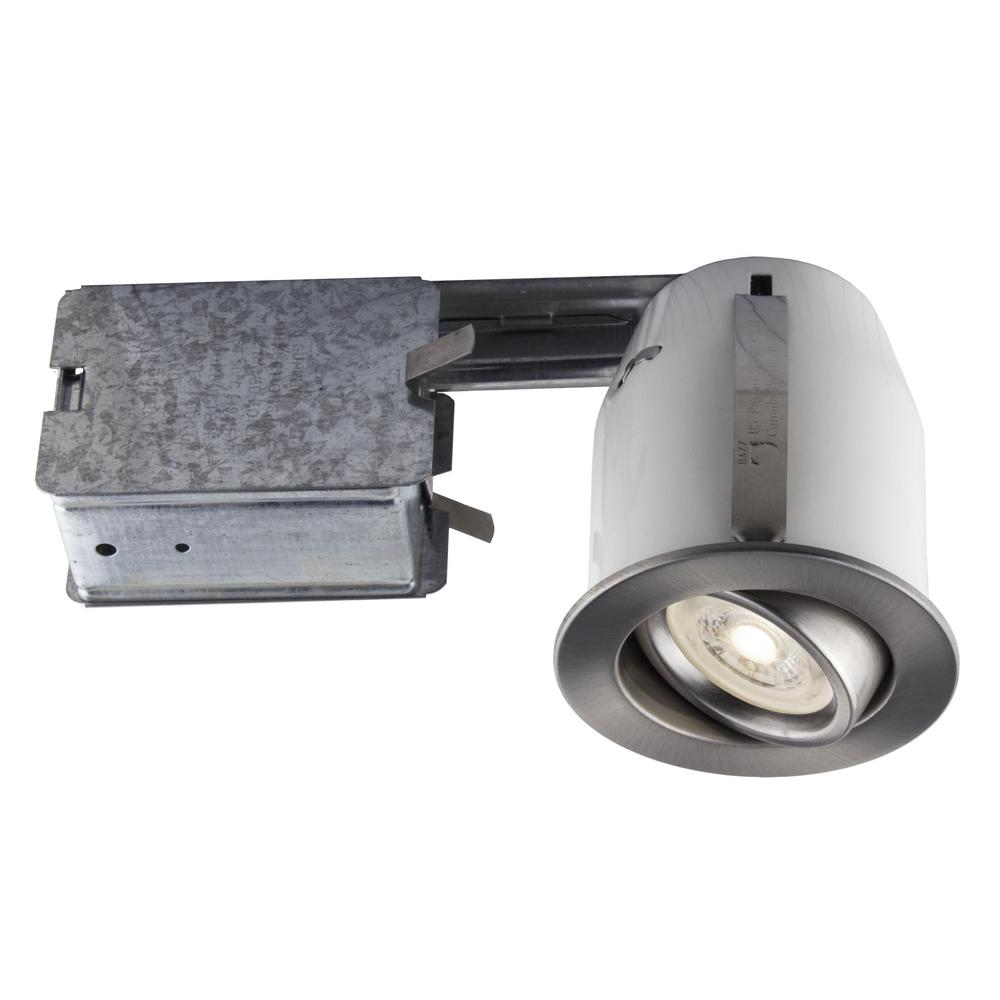 Bazz recessed led 3 in brushed chrome recessed led lighting kit bazz recessed led 3 in brushed chrome recessed led lighting kit with gu10 bulb aloadofball Images