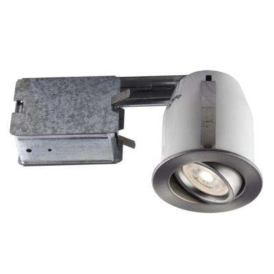 3-in. Brushed Chrome Recessed LED Lighting Kit with GU10 Bulb Included