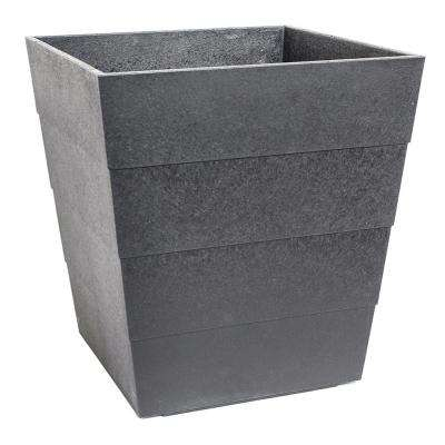 Lineata 11.75 in. x 13 in. Pewter Rubber Self-Watering Planter