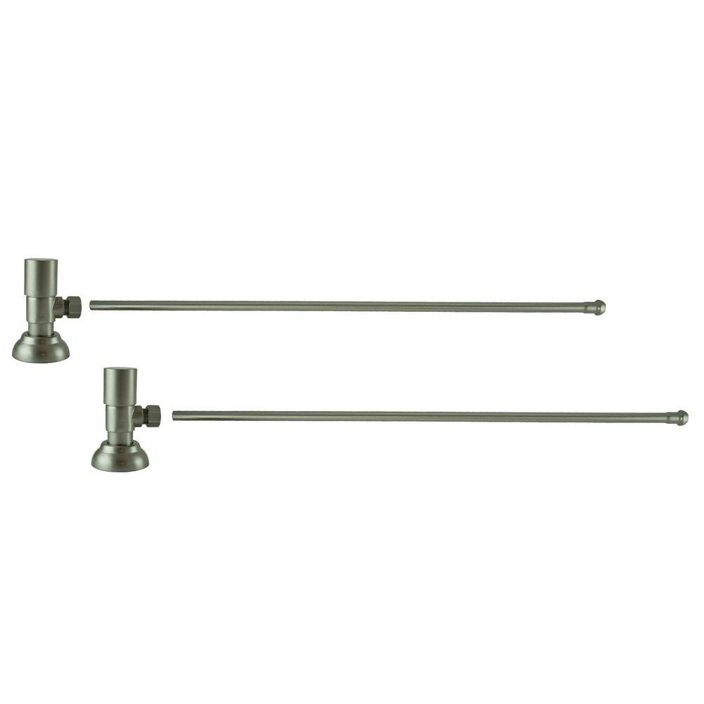 3/8 in. O.D x 20 in. Brass Rigid Lavatory Supply Lines with Round Handle Shutoff Valves in Brushed Nickel Barclay provides all your essential bathroom needs. Enjoy the convenience of accessible water shut-off with these decorative lavatory supplies. Choose from 4 designer finishes. Color: Brushed Nickel.