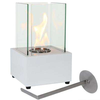 Cubic 13 in. Ventless Bio-Ethanol Tabletop Indoor Fireplace in White