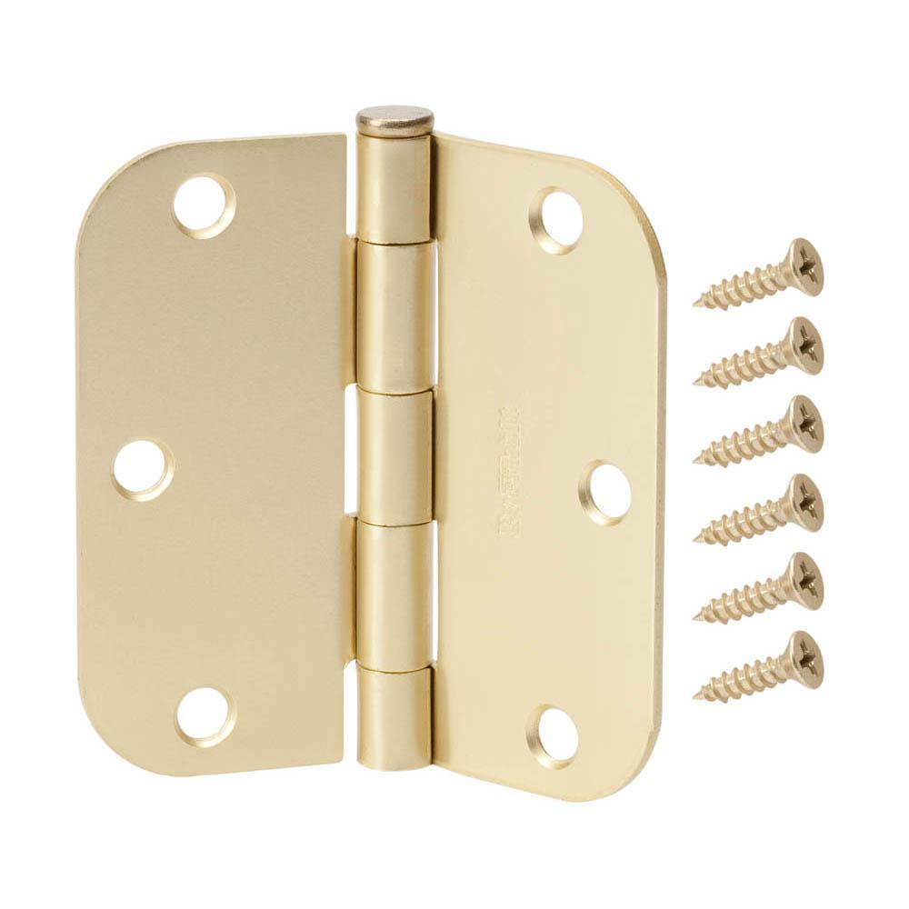 3-1/2 in. x 5/8 in. Radius Satin Brass Door Hinge Value Pack (24-Pack)