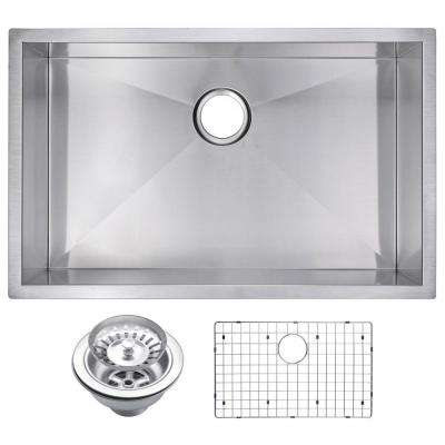 Undermount Stainless Steel 30 in. Single Bowl Kitchen Sink with Strainer and Grid in Satin