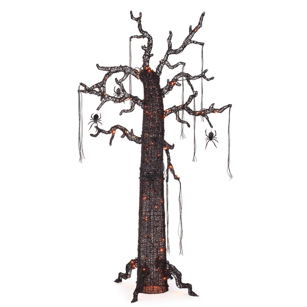 84 in. Orange LED Scary Ghost Tree